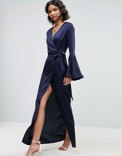 657f413c42f Navy Blue Long Sleeve Maxi Dress for Guest of a Wedding