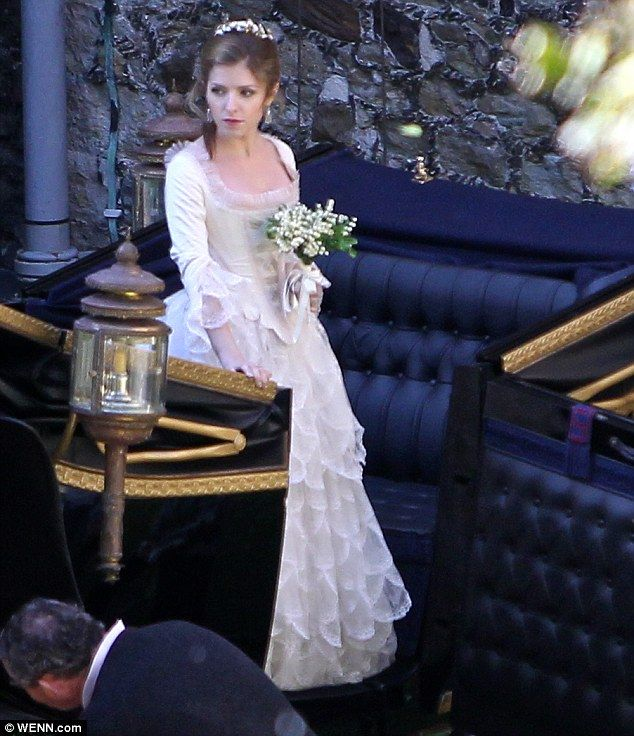 Rags to riches: Kendrick, who plays Cinderella, was decked out in a stunning wedding-like gown, the same costume she wore the day before