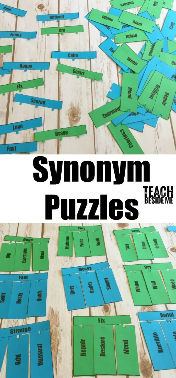 Synonym Puzzles- fun language arts game for kids via @karyntripp