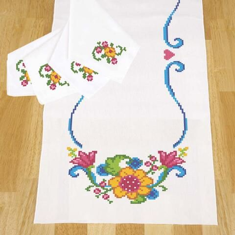 Herrschners® Bright Flowers Table Runner & Napkins Stamped Cross-Stitch