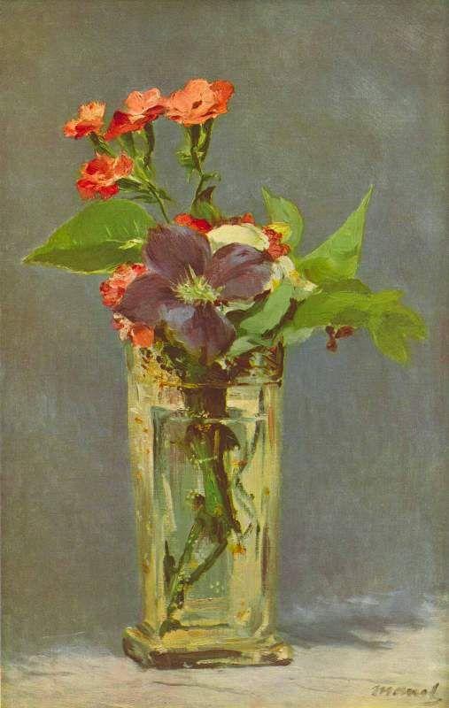"""Claveles y clemátide"" Edouard Manet                                                                                                                                                                                 Más"