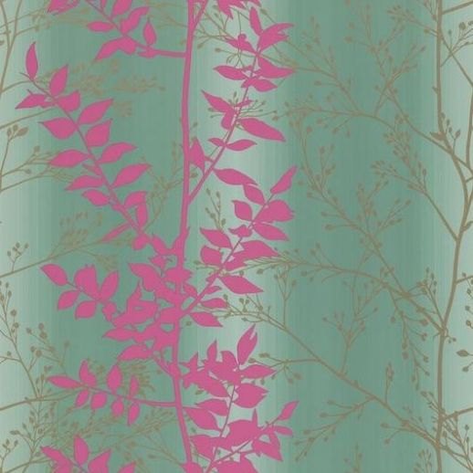 Persephone (110182) - Harlequin Wallpapers - A pretty leaf trail with metallic highlights which catch the light beautifully - showing in pink and gold on a duck egg green striped background. Other colour ways available. Please request a sample for true colour match. Paste-the-wall product.