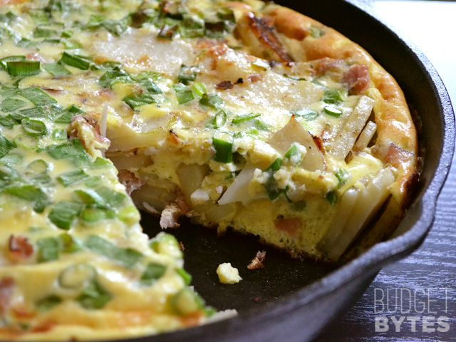 Ham and Potato Frittata |  I know most of you are out having burgers and beer (and I'm about to myself), but I had this Ham & Potato Frittata recipe waiting in the queue, so I thought I'd post it real quick…| From: budgetbytes.com