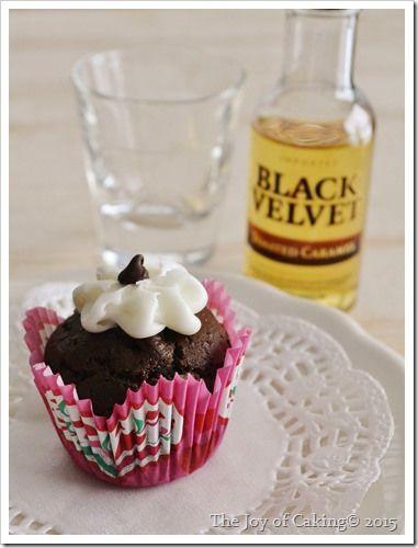 Black Velvet Toasted Caramel Whisky Frosting On Dark Chocolate Cupcakes