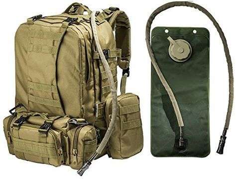 Large Tactical Backpack -with 3 Bonus MOLLE Bags - and 2.5L Hydration Water Bladder system included. #monkeypaks