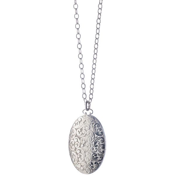 Monica Rich Kosann Oval Floral-Carved Locket Necklace ($845) ❤ liked on Polyvore featuring jewelry, necklaces, sterling silver oval locket, sterling silver locket, pendant necklace, carved necklace and sterling silver necklace