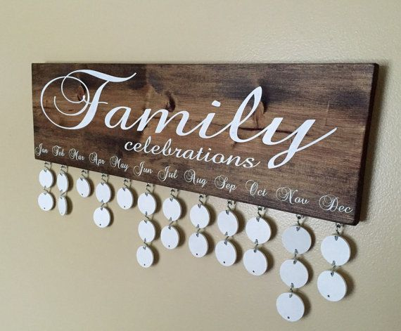 This Family Celebrations Board is a great way to keep track of family birthdays at a glance. I originally found the idea for this board while looking way for my family to keep track of our grand-babys birthdays. You can choose a color to match your decor or just your favorite! This board makes a beautiful and functional gift for anyone on your list. Details on this piece are as follows:  - 1 X 7 1/4 X 24 inch board, - Includes 24, 1 1/2 inch wooden discs along with 24, 3/4 inch S hooks for…
