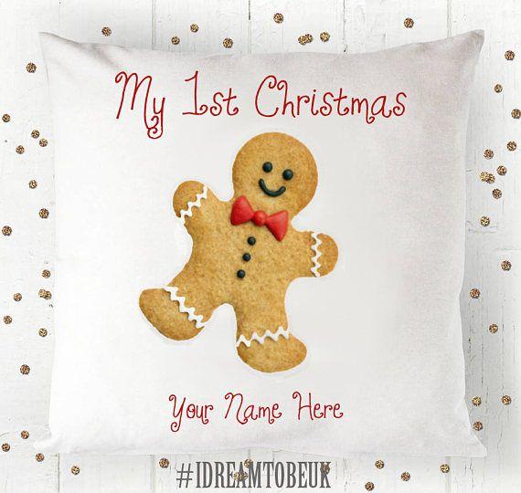 Gingerbread man Christmas cushion  personalised pillow babys