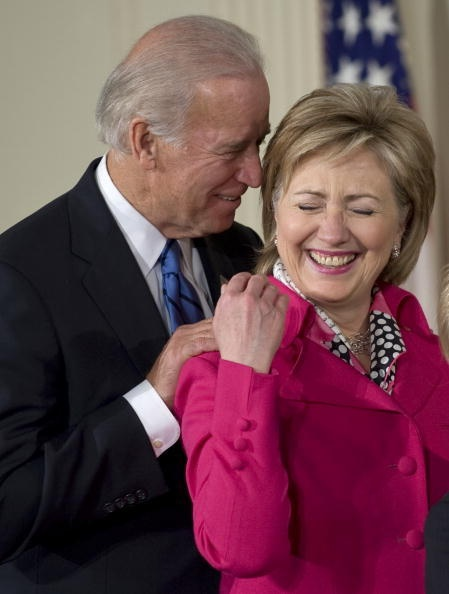 Joe Biden and Hillary Clinton, both Scorpios, and it sure looks it from this picture!