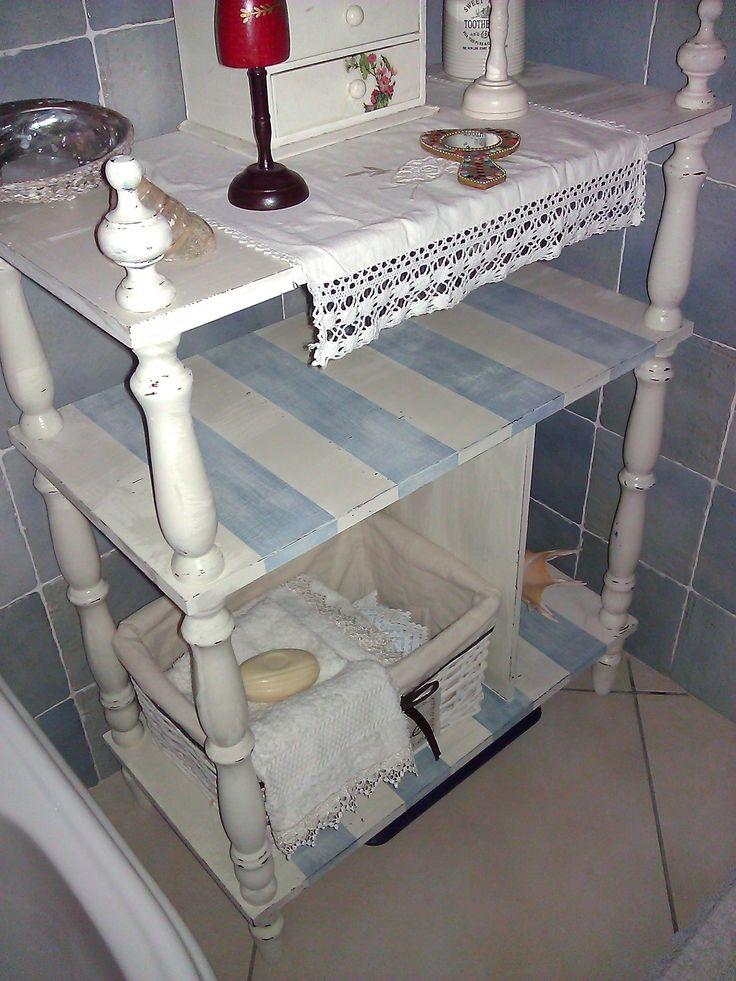Scaffale porta oggetti da bagno in stile Shabby