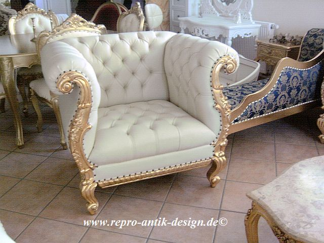 Chester Barock Sessel Louis XV Antik Blattgold weiß Barocksessel Empiresessel