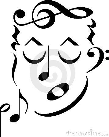 A cartoon man's face made up of musical notes and symbols.