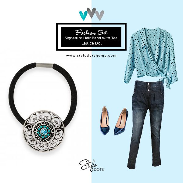 Signature Hair Band with Teal Lattice Dot.  Interchangeable, customizable snap jewelries & accessories | #styledots