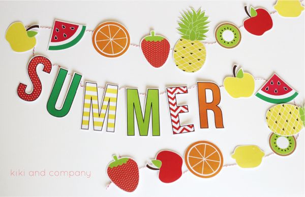 FREE Printable Summer Fruit Garland