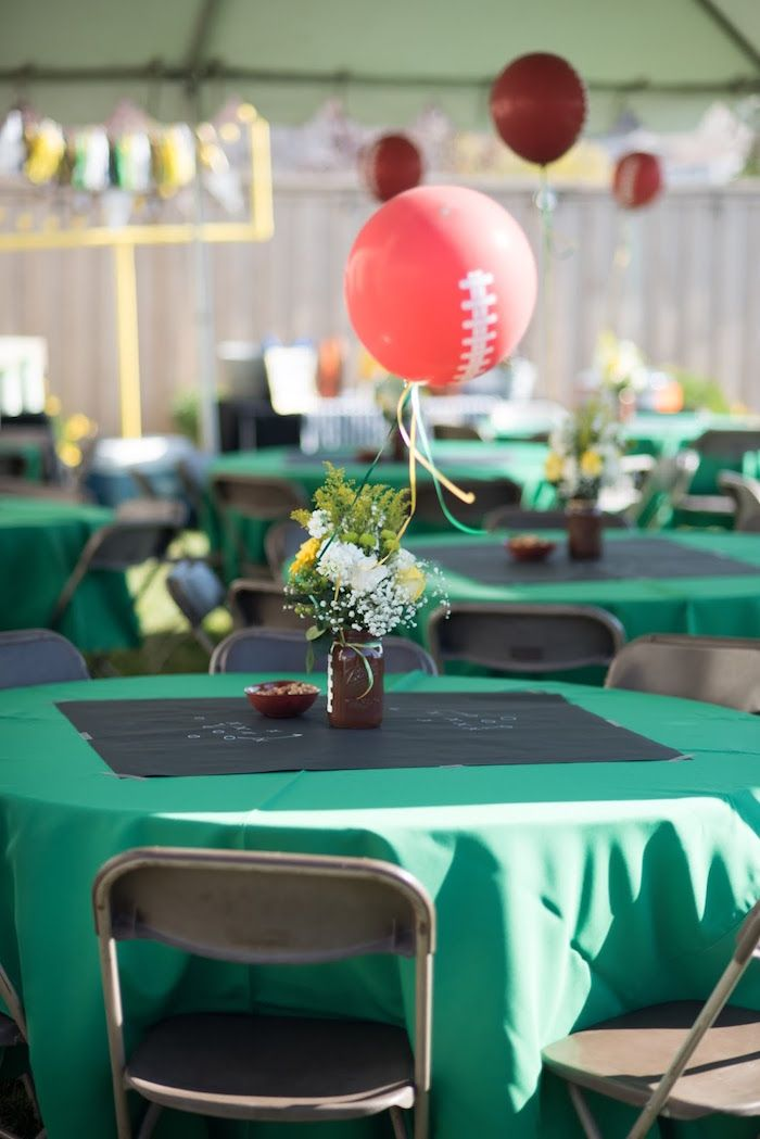 Guest Table from a 4th & 40th Combined Football Themed Birthday Party via Kara's Party Ideas! KarasPartyIdeas.com (20)