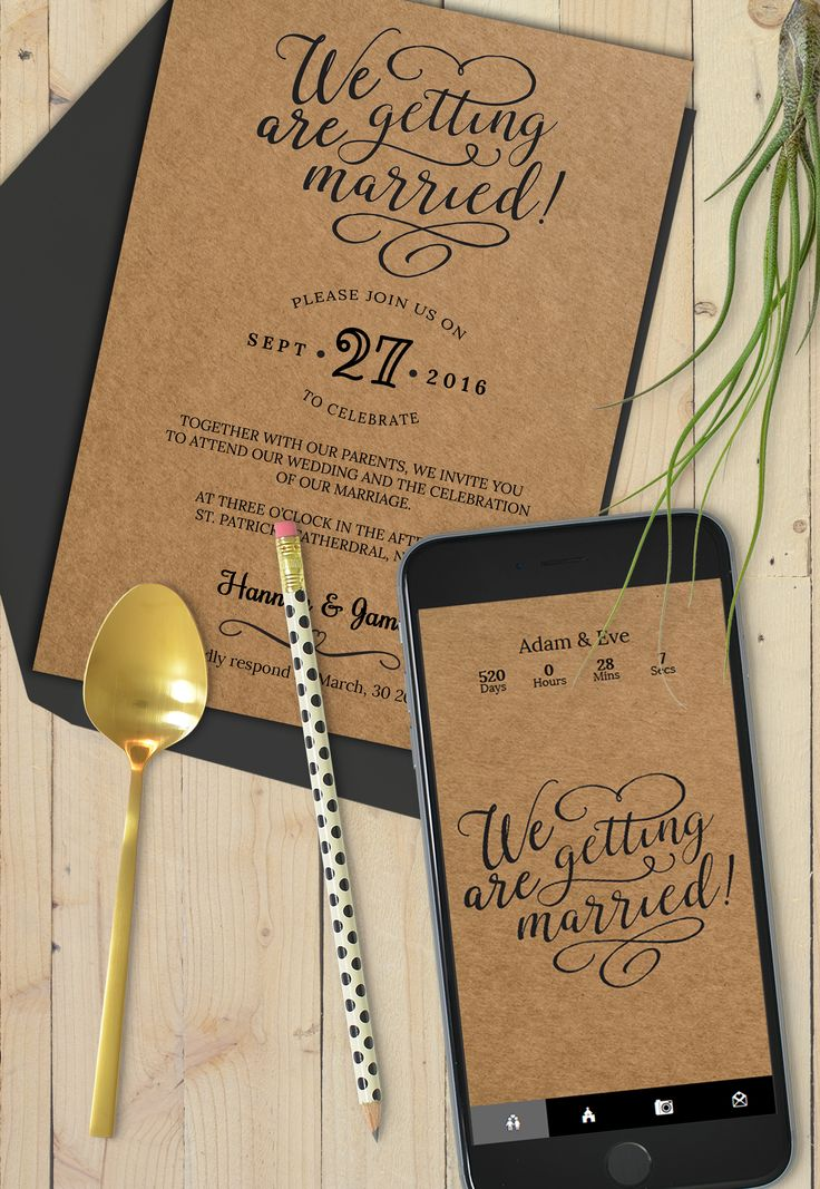 Very classy invitation card suite with webapp in the same creative design - print on craft paper for this rustic look!