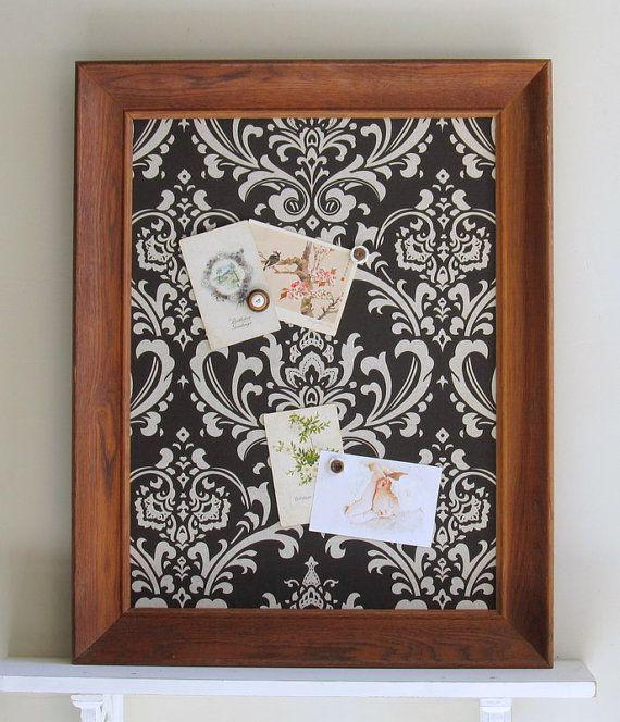 magnetic memo board bulletin board for sale wood vintage frame brown damask woodland wedding rustic barn fall wedding kitchen new item - Kitchen Bulletin Board Ideas