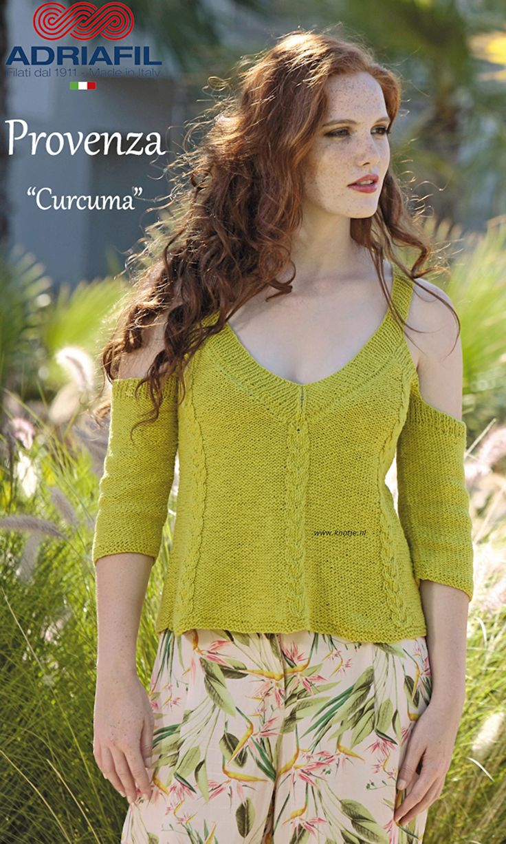 """Breien met Knotje.nl Deze trui """"Curcuma"""" is gemaakt met de Adriafil Provenza. Met onze Provenza garen omarmt natuurlijk linnen onze (top-kwaliteit) Egyptisch katoen. Om u een licht garen te geven met een delicate, aangename textuur.  Een streling voor je ogen, een plezier om mee te breien.   Model en patroon staan in het patronenboek Adriafil Dritto & Rovescio No. 62. (Model pag. 23)"""