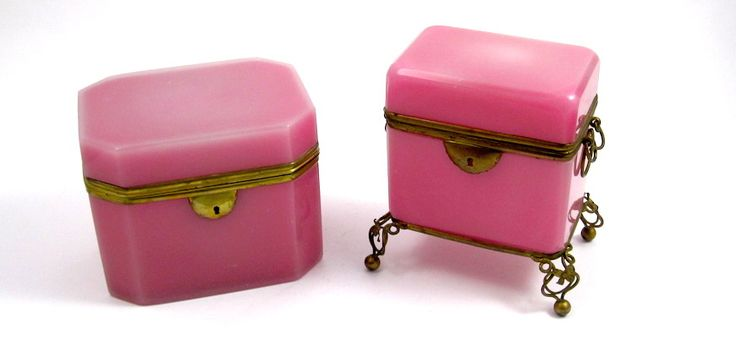 Antique French Pink Opaline Caskets