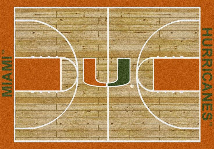 University of Miami Hurricanes Basketball Court Rug