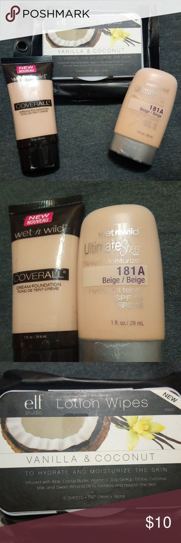 Wet n Wild make up and elf wipes New wet n wild cream foundation in shade fair with wet n Wild tinted moisturizer in beige and lotion wipes all included. wet n wild Makeup Foundation