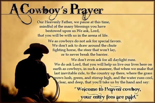 A Cowboy's Prayer | F.M. Light and Sons Updates: Sunday Morning Thought | Western Wear for Over 100 Years