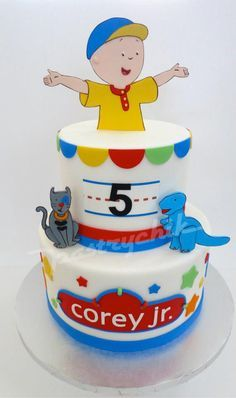 Cute Caillou Cake for a 5th Birthday.