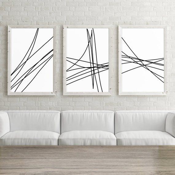 Set of 3 Large Printable Art, Trendy Wall Art Print, Minimalist Poster 24×36, Abstract Line Art, Bla – Nane Bar