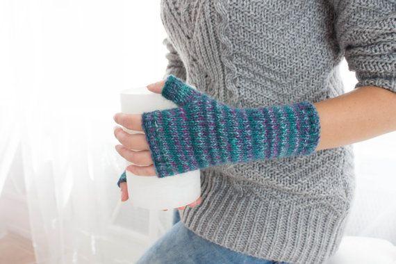 Donne di lana Guanti senza dita in lana blu Arm di SmthWarm
