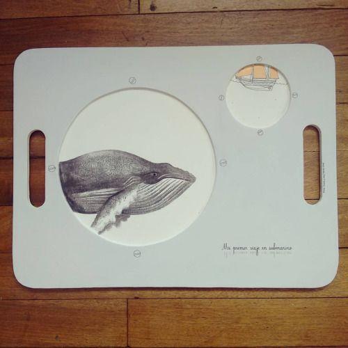 """ Mi primer viaje en submarino "" bandeja pieza única #Himallineishon #homedecor #tray #whale #illustration #handpainted"