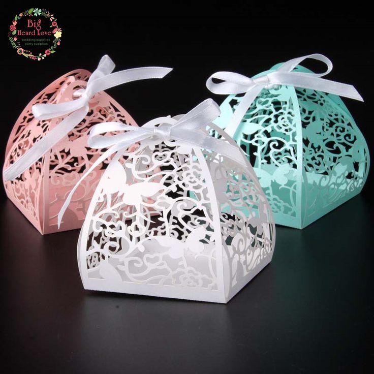 Grande Ouvido Amor 50 pcs caixa do favor do casamento da borboleta e flor corte a laser caixa de presente caixa de doces favores do casamento do partido do evento suprimentos