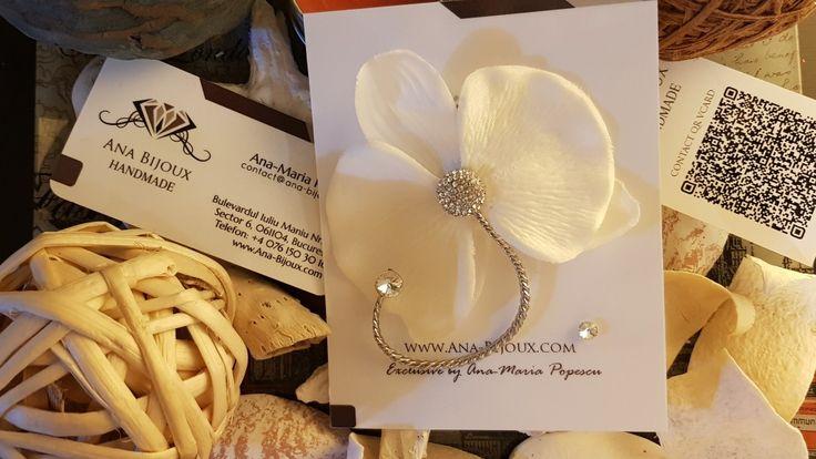 Cercei Orhidee #ANA819699 - Cercei handmade Orhidee cu cristale si tije Argint 925 si cercel mic cu piatra SWAROVSKI si tije Argint 925.  - Bijuterii Handmade - Ana Bijoux Handmade | Ana-Bijoux.com | Ana Bijoux Group