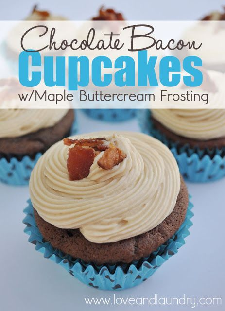 Chocolate Bacon Cupcakes with Maple Buttercream Frosting #cupcakes #chocolate #bacon #fathersday