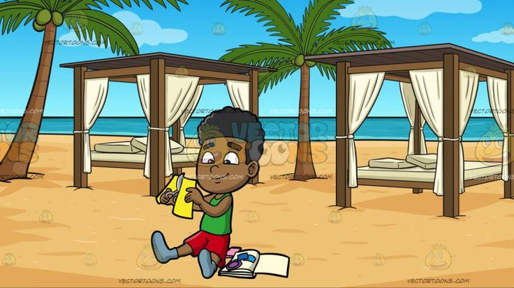 A Black Boy Cutting Paper For Scrapbooking At Luxury Cabanas On A Beach:  A black kid with curly hair wearing a green tank top red shorts and gray shoes smiles while sitting on the floor as he cuts a yellow paper using a gray scissors to complete his scrapbook collection placed beside him. Set in two cabanas with elegant brown wooden poles and flat roofing white linen curtains a bed with off white mattress and throw pillows spaced appropriately on the beach sands beside two palm trees…