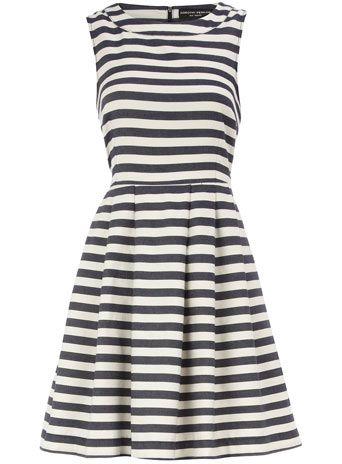 Blue stripe high neck dress / dorothy perkins