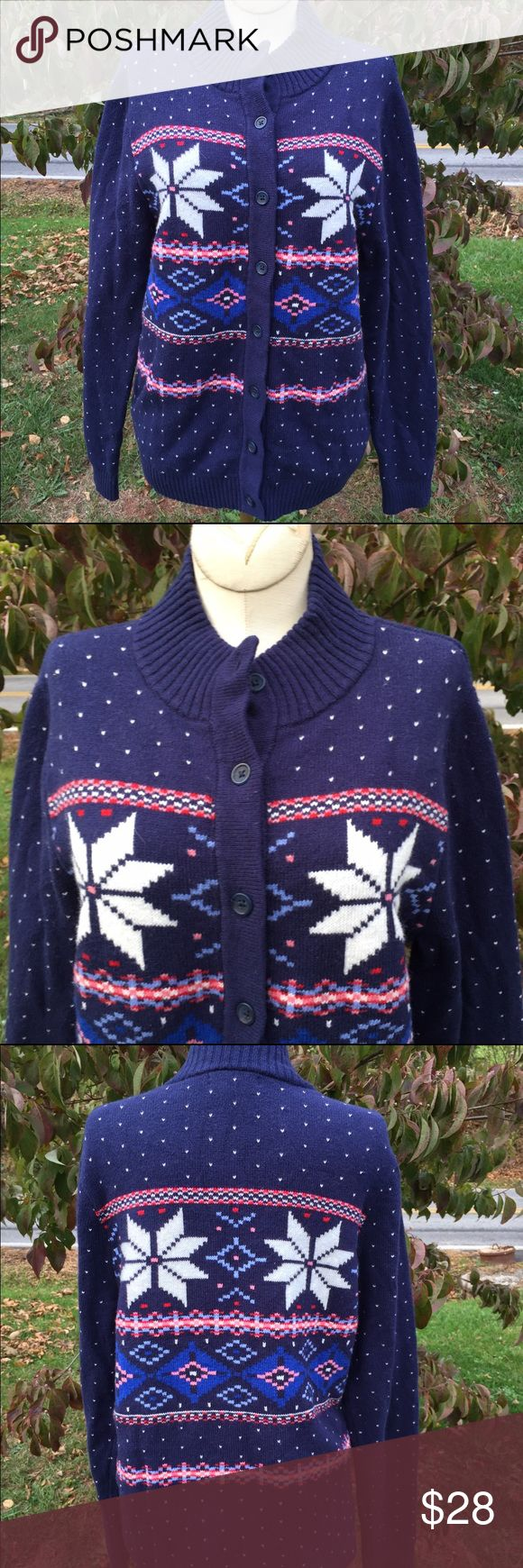 Lands' End Christmas Theme Cardigan Sweater Size medium. Great for the Christmas season Lands' End Sweaters Cardigans