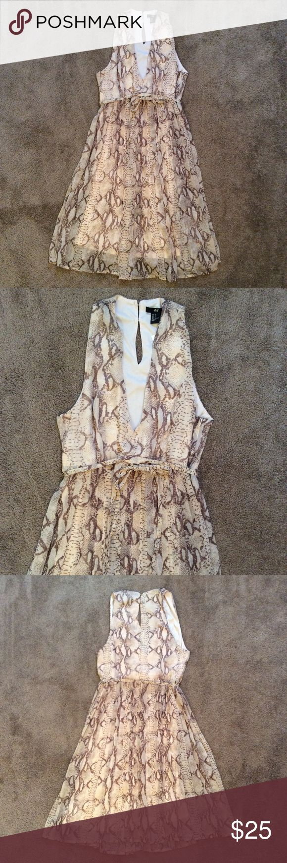 NWT H&M Python Print Dress NWT H&M Python Print Dress, Cream & Brown Colored, Size 6, last pic shows broken belt loop but Belt is attached through dress so not a big deal, Belt ties in front H&M Dresses