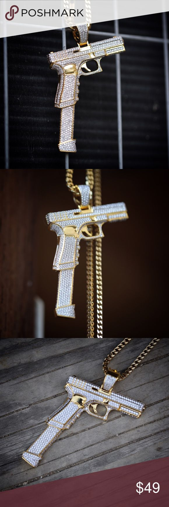 Large Hand Gun Pendant Necklace Large 14k Gold Plated Hand Gun Pendant With 30 Inch Franco Chain Necklace Large size hand gun pistol pendant is 3 inches in length. Fully iced out with white lab simulated diamonds. Chain is 14k gold plated over 316 stainless steel. Comes with a 3mm width 30 inch length franco chain. TSV Jewelers Accessories Jewelry