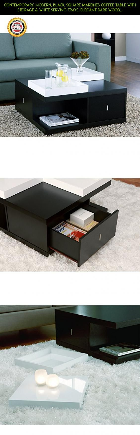 CONTEMPORARY, Modern, Black, Square Mareines Coffee Table with Storage & White Serving Trays. ELEGANT Dark Wood Color & Design Pairs Well with Furniture of ALL Sizes for Living Room & Patio Furniture. BEST Gift Ideas for Weddings, Housewarming, Birthday & HOLIDAYS! #drone #furniture #technology #racing #gadgets #plans #patio #fpv #tech #ideas #products #shopping #parts #kit #camera