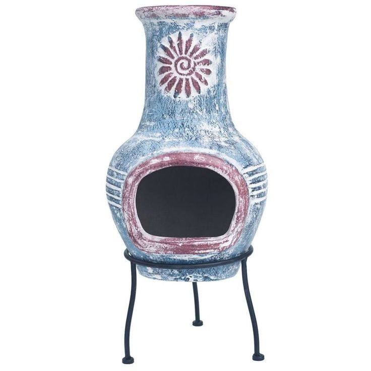 Fire Bowl Pit Modern Home Fireplace Warmth Indoor Decoration Garden Blue Clay #FireBowlPit