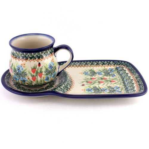 """Breakfast set in a """"forrest pattern"""" with strawberries and ladybugs. How cute for your morning routine! Polish Pottery from http://slavicapottery.com"""