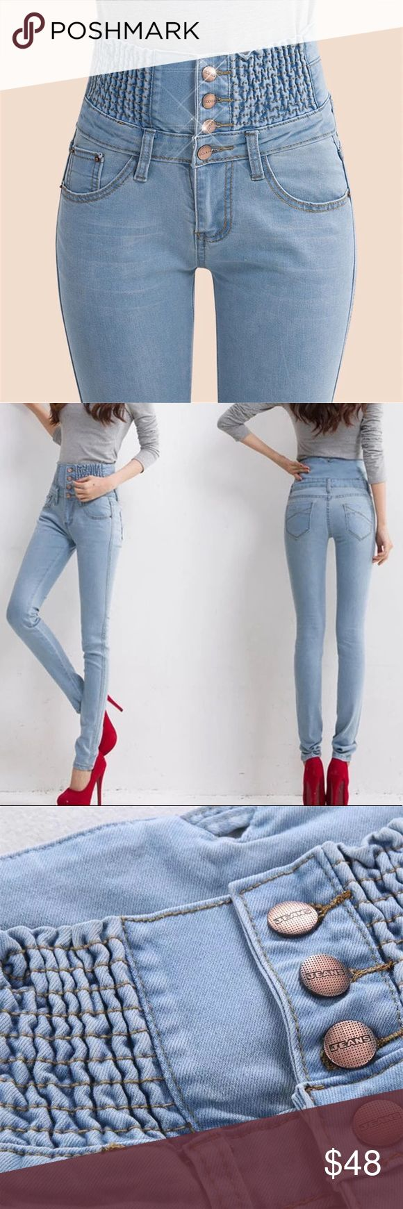 2018 SUPER CUTE& HIGH WAISTED LIGHT SKINNY JEANS 2017 2018 SUPER CUTE& SUPER HIGH WAISTED ELASTIC TUMMY CONTROL DENIM SLIM SKY BLUE SKINNY JEANS IN SIZE 27 / LOW PRICE / FAST SHIPPING Jeans Skinny