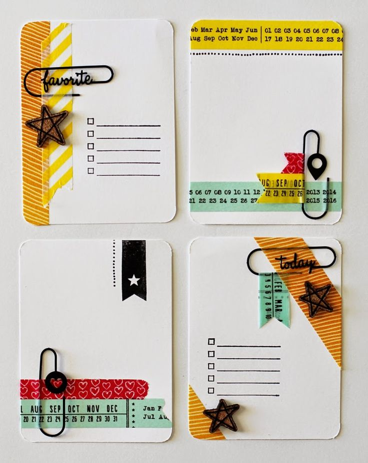 Washi tapes, stamps and paper clips. Personalized PL cards