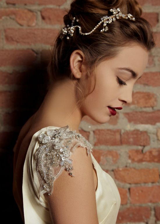hair and accessory and gown design by creative duo of Yalda Ashrafi http://www.weddingchicks.com/2014/02/11/1920s-1970s-inspired-collection-by-yalda-ashrafi/