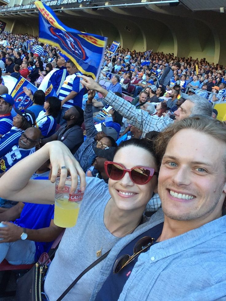 Here's a new picture of Sam Heughan and Caitriona Balfe in South Africa Source