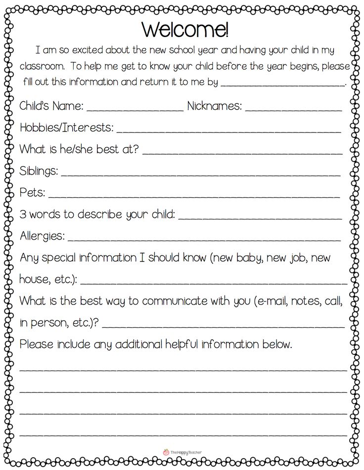 FREE.  Open a positive line of communication with parents from Day 1.  Have parents fill out this simple note at Meet the Teacher night so you can learn about their child before the year even begins.