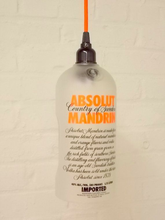 Upcycled Repurposed  Hanging Pendant Absolut  Mandarin Lamp color fabric cord swag light Recycled Glass