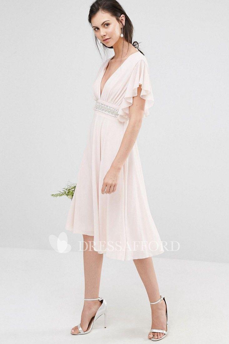 48c132c014ba Knee-Length A-Line V-Neck Poet Sleeve Ruched Chiffon Bridesmaid Dress