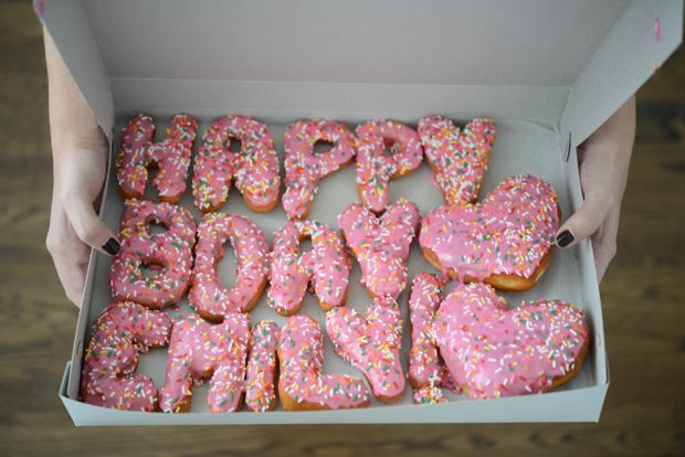 Spell it out with donuts -- Happy Birthday! | Cupcakes & Cashmere #birthday #hbd #donutbirthday #donuts #pink #party