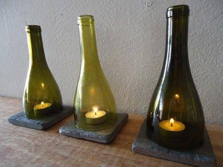 Porta Velas De Botellas Recicladas De Vino